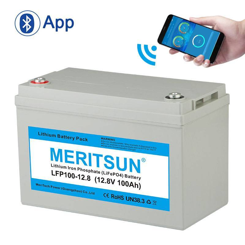 lifepo4 battery price polymer bluetooth 100ah MERITSUN Brand company